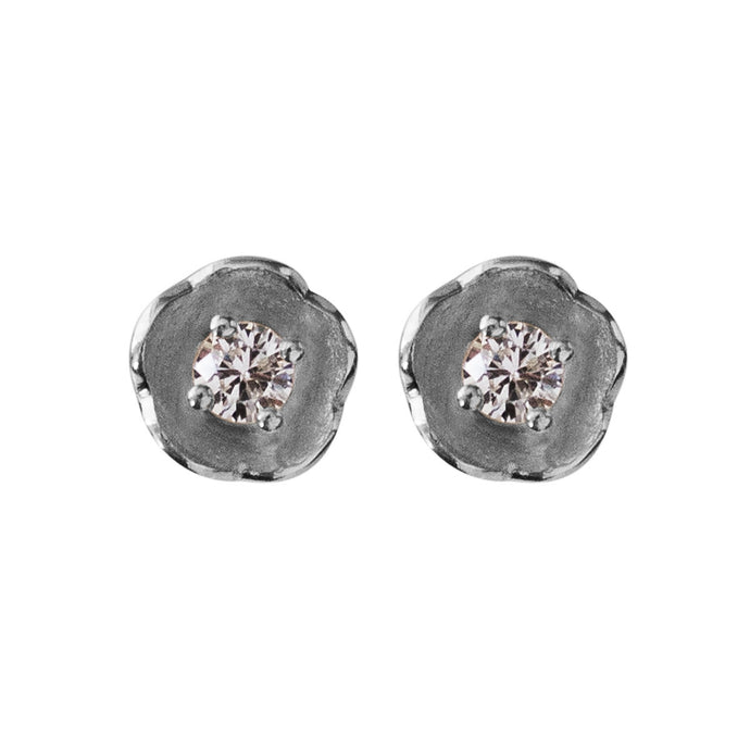 White gold and diamond studs