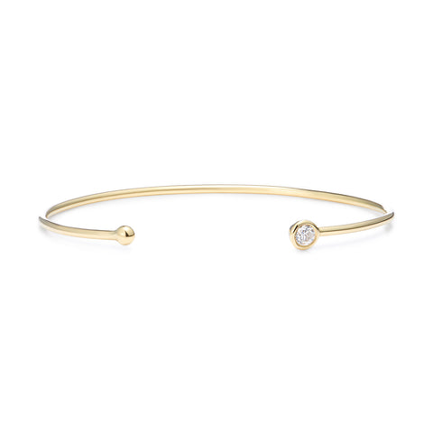 Mermaid Collection - Gold bangle with single diamond