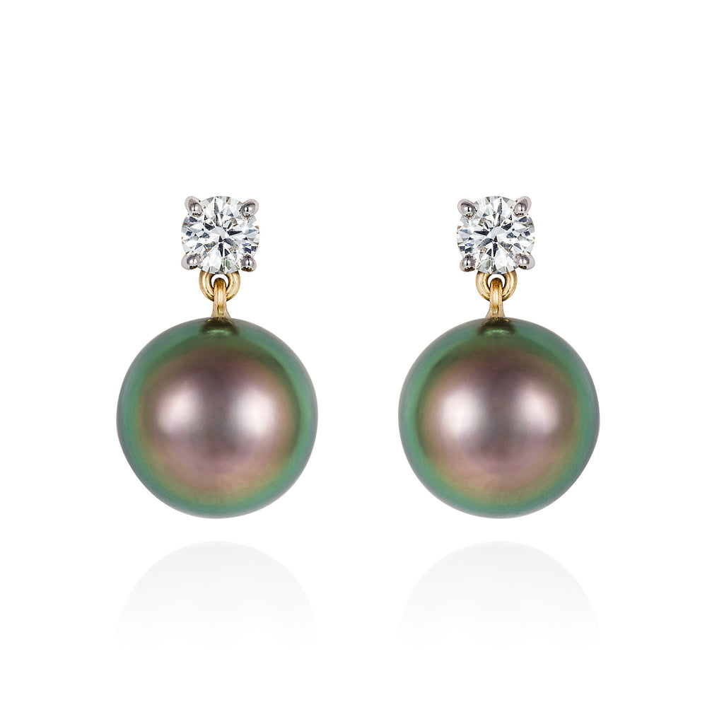 Mermaid Collection - Tahitian Pearl And Diamond Earrings