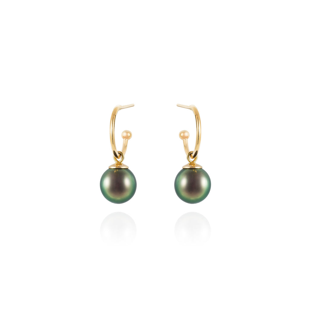 Mermaid Collection - Tahitian pearl drop earrings - large