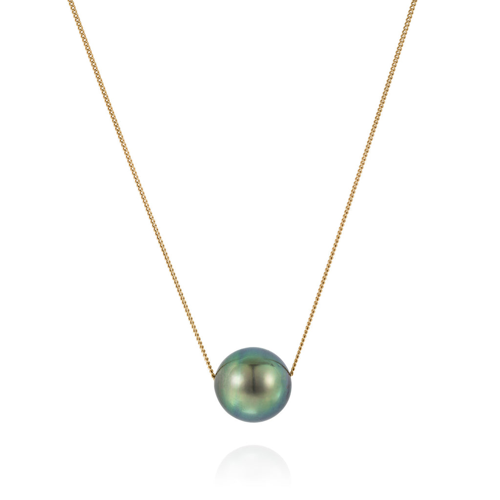 Mermaid Collection - Floating Tahitian Pearl Necklace 9kt Gold