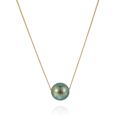 Mermaid Collection - Floating Tahitian Pearl Necklace 18kt Gold