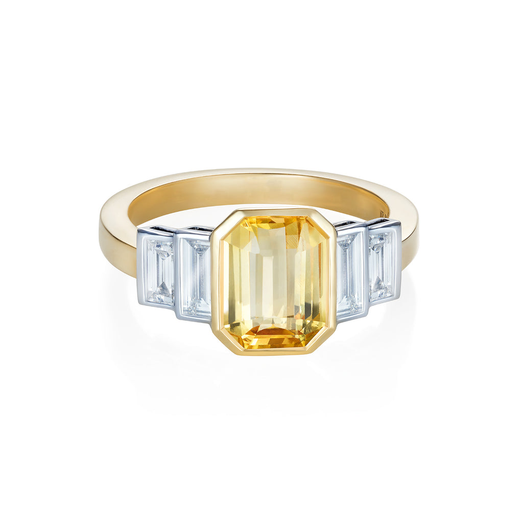 with diamonds yellow sapphire created ring gold in