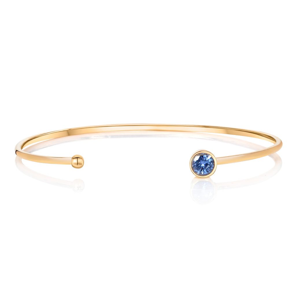 Mermaid Collection - Ceylon Blue Sapphire, Yellow Gold Bangle