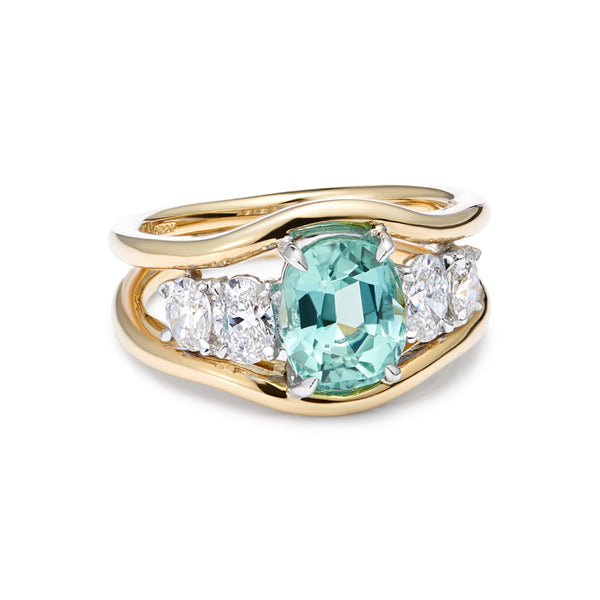 Mermaid Collection - Mint Tourmaline and Diamond Ring
