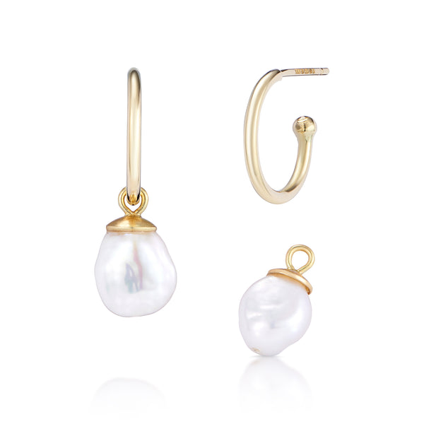 2 Way Earrings - Gold Hoops With Removable White Pearl Drops