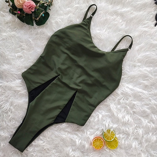 Everly Sexy One-Piece Swimsuit Olive Green