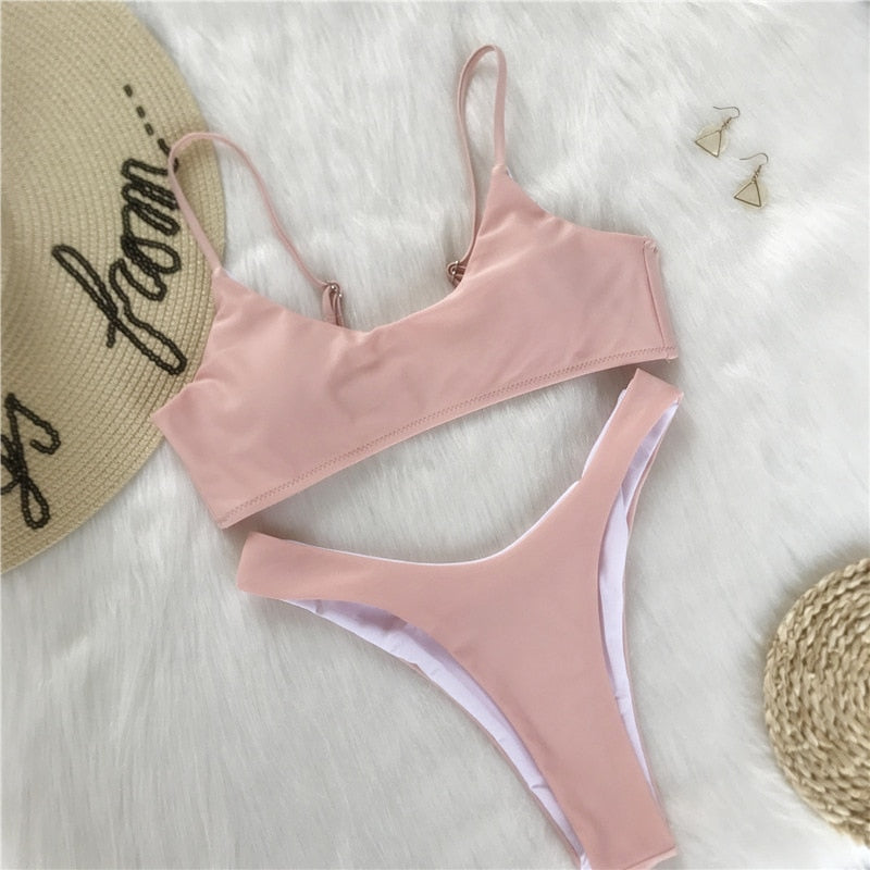 Julia Bikini Set Summer Basic Pink