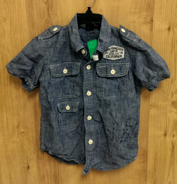 Gap Kids blue short sleeve button up - 4/5