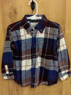 Children's Place bergundy/blue flannel long sleeve button up - 4T