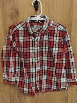Children's Place orange checked flannel long sleeve button up - 4T