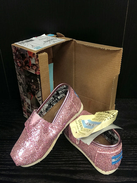 Toms NWT Classic Pink Glitters - 7