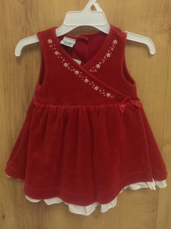 OshKosh red velour dress - 12mos