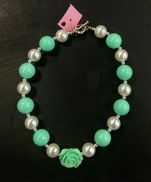 New chunky bead bubble gum necklace - mint/pearl w/ rose