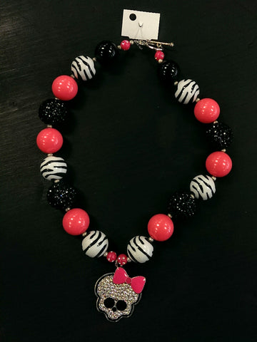 New chunky bead bubble gum necklace - emo skull pendant