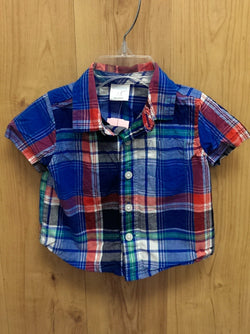 Gymboree blue plaid short sleeve button down - 0/3mos