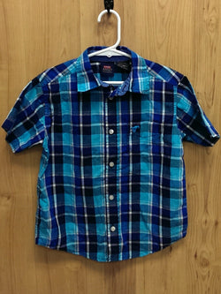 Wrangler blue short sleeve button down - 4/5
