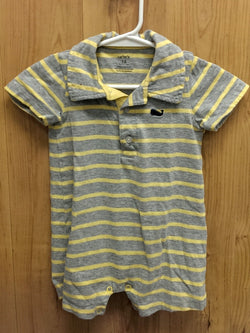 Carter's gray/yellow striped romper - 18mos
