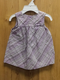 First Moments lavender plaid dress - 3/6mos