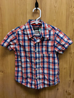 OshKosh coral/blue checked button down shirt - 4