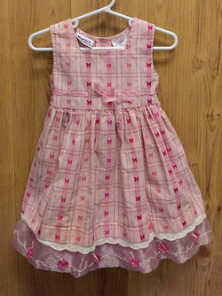 Blueberi Blvd pink checked butterfly dress - 2T
