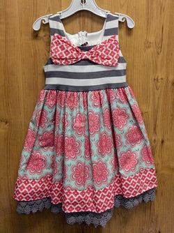 Counting Daisies pink/gray/mint dress - 5