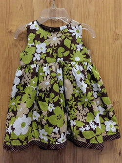 Carter's brown/lime floral dress - 6mos