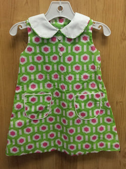 Handmade green collared boutique dress - 18mos