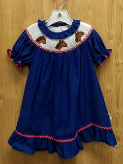 Posh Pickle blue smocked horse dress - 12mos