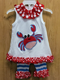 Boat House Baby by Mud Pie 2pc crab outfit - 0/6mos