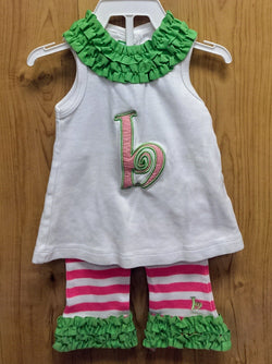 Initial Baby by Mud Pie 2pc 'b' initial outfit - 0/6mos