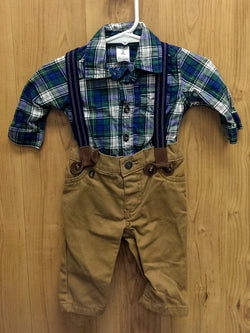 Carter's 3pc shirt/pants/suspenders outfit - 3mos