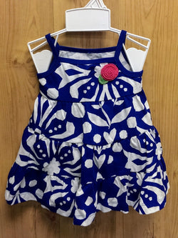 Carter's blue patterned dress w/ bloomer - 3mos