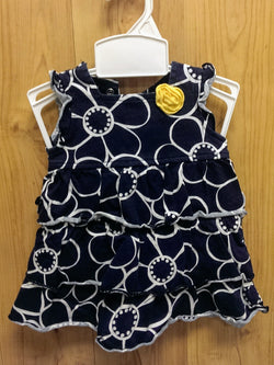 Carter's Just 1 You navy patterned dress w/ bloomer - 3mos