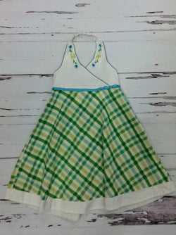 Youngland green checked dress - 6