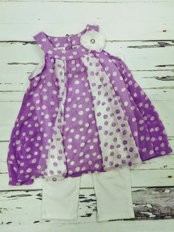 Kids HQ lavender/white 2pc outfit - 6