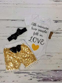 New 3pc '2 people fell in LOVE' outfit w/ headband - various sizes