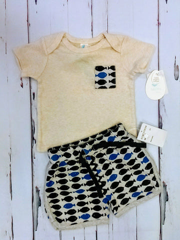 Stem Baby NWT organic cotton 2pc outfit - 6mos