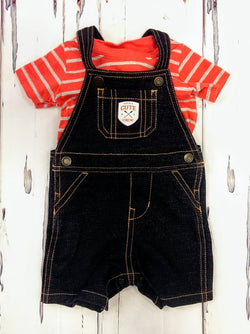 Carter's 2pc tee / overalls outfit - 9mos