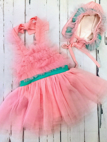 NWT pink sun outfit / dress w/ bonnet - various sizes