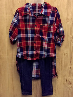 Chilipop 2pc flannel top / jeggings outfit - 3T