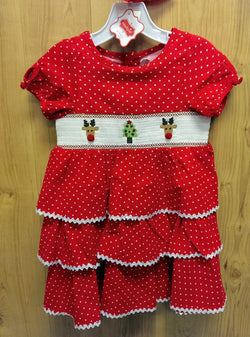 Mudpie smocked corduroy Christmas dress - 4T