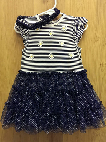 Little Me navy/white dress w/ headband - 24mos