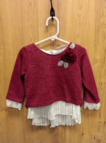Little Lass maroon layered top - 2T