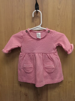 Carter's pink  dress w/ sewn-in onesie - 3mos