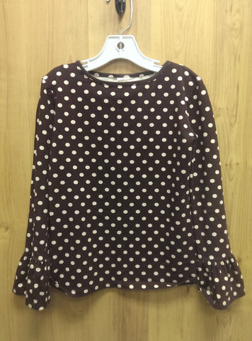 Persnickety brown/pink polka dot top - 8