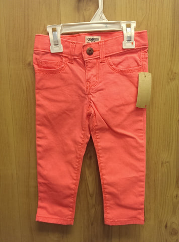 OshKosh coral stretch skinny jeans - 2T