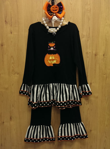 Ann Loren 4pc Halloween 'cat-o'lantern' outfit w/ accessories - 7/8