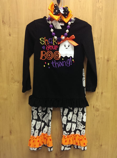 New 4pc Halloween 'Shake your Boo thang' outfit w/ accessories - 5/6
