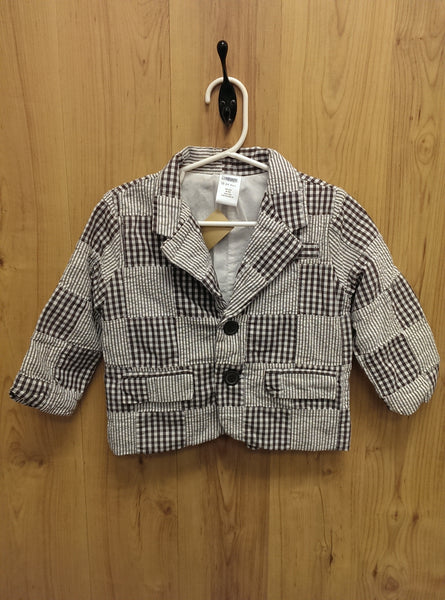 Gymboree brown/white patchwork jacket - 12/24mos